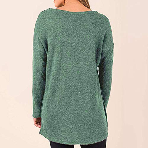 Suelto Blusa Suéteres Sólido Con Redondo De Mujer Color Verde Otoño Para Jersey Botón Invierno Punto Suéter Cuello Mymyg Pullover Camisetas 1AqRC8C