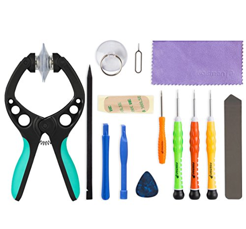 (iPhone Tool Kit, Fosmon 14 Pieces Tool Repair Kit, Includes 5-Point Pentalobe Screwdriver with LCD Screen Opening Pliers for Apple iPhone X / 8 Plus / 8 / SE / 6S Plus / 6S / 6 Plus / 6 / 5S / 5c / 5)