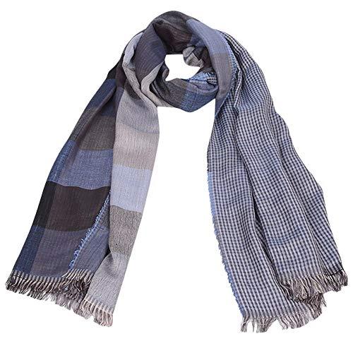 Solid Warm Men Fashion Tartan Scarf Wrap Plaid Cozy Tassel Shawl Winter Elastic