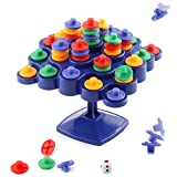 Everrikle Funny Balancing Stand Stacking Topple Puzzle Board Game Interactive Kids Toy,Classic Toy, Developmental Toy, Easy-to-Grip Shapes, Learning Toys for Toddlers