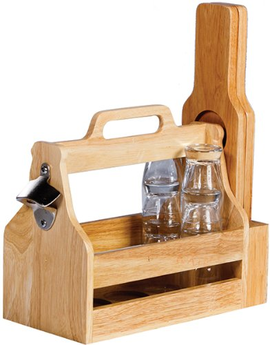 Picnic Plus Wood Craft Beer Carrier Beer Holder Beer Tasting and Carry Set by Picnic Plus (Image #1)
