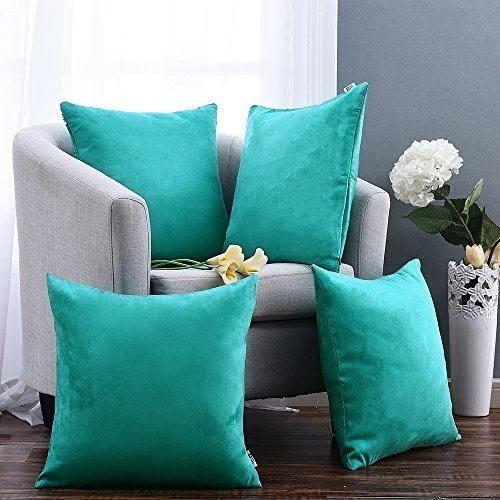 Pony Dance Square Throw Pillow Covers Soft Short Plush Cushion Covers Shams for Nap,Peacock Blue,18