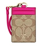 Coach Signature C PVC Canvas Leather Khaki Pink Ruby Lanyard, Badge ID Credit Card Holder 63274