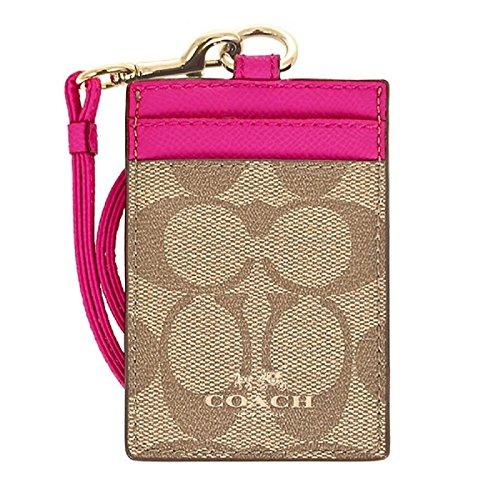 Coach Signature C PVC Canvas Leather Khaki Pink Ruby Lanyard, Badge ID Credit Card Holder 63274