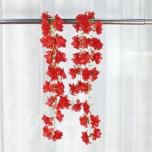 Higere 1Pc Artificial Azalea Garland Flower Vine Wedding Garden Decoration(Red) 35