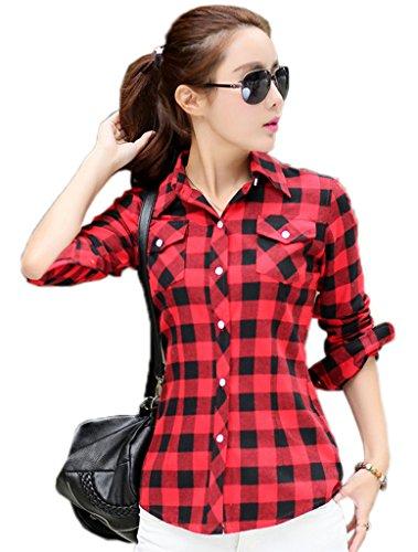 Femme Carreaux Chemise Xiang Ru a Classique Cotonnade Manches Longues Rouge en Noir qH7xa