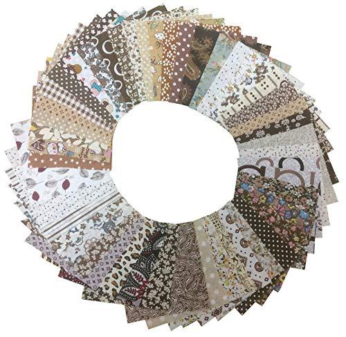 "longshine-us 50pcs 4"" x 4"" Premium Cotton Craft Fabric Bundle Squares Patchwork Lint DIY Sewing Scrapbooking Quilting Dot Pattern Artcraft (Brown)"