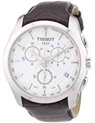 Tissot Mens T0356171603100 Couturier Silver Stainless Steel Chronograph Watch With Brown Leather Band