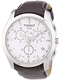 Men's T0356171603100 Couturier Silver Stainless Steel Chronograph Watch With Brown Leather Band
