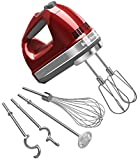 KitchenAid KHM920A 9-Speed Hand Mixer candy apple red – With (Free Dough hooks, whisk, milk shake liquid blender rod attachment and accessory bag) Candy Apple Red For Sale