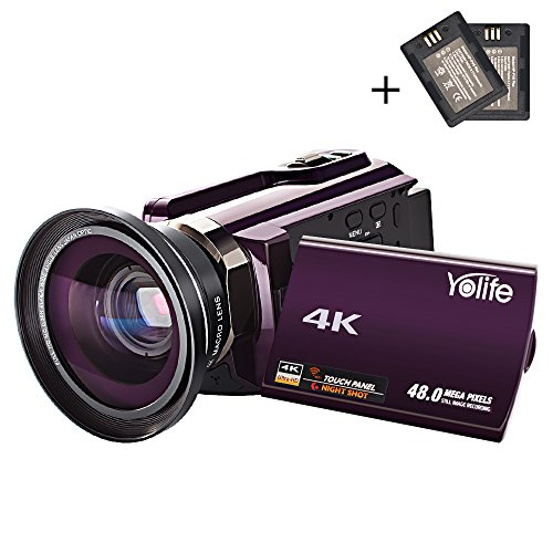 Camcorder,Yolife 4K Ultra HD Digital Video Camera Recorder with Wide Angle Lens,30FPS Wifi Camcorder with Night Vision,3.0″ LCD 270 Degree Touchscreen and 2 Rechargeable Batteries(Purple)