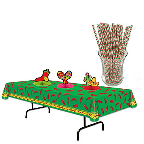 Curated Nirvana Red & Green Chili Print Table Cover Bundle with 3 Piece Honeycomb Tissue Fiesta Centerpieces and 25 Count Festive Print Straws ()