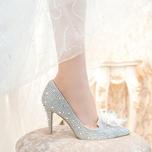 Con Donna 33 Sposa Scarpe 5CM Strass Cenerentola Da Cristallo Sposa 9 In Da Alto Tacco Da MUYII Silver Di U6qY4