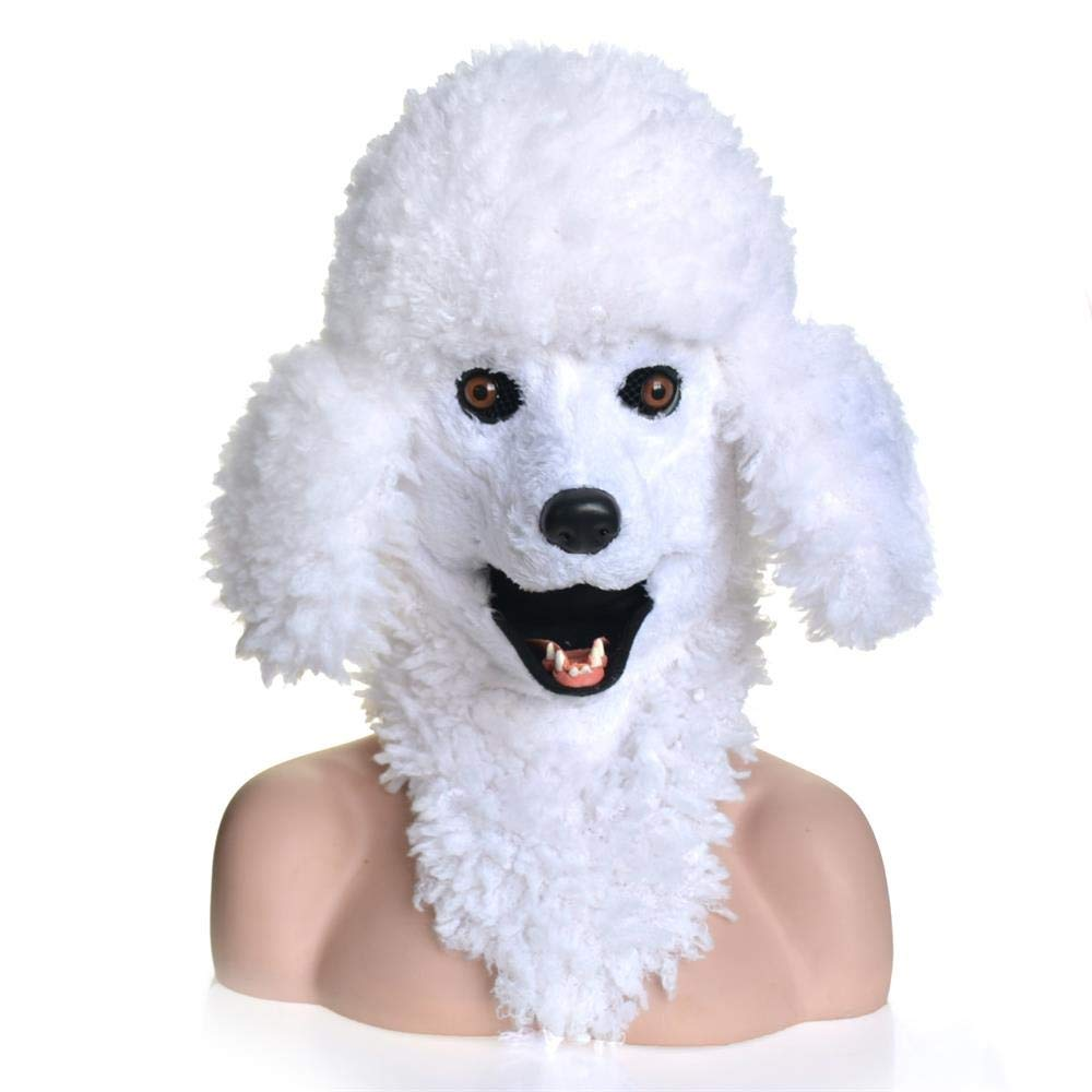 Meipa Time Wihte Dog Headgear Poodle Dog Head Real Animal Masks Animal Face Moving Mouth ( color   White , Size   2525 )