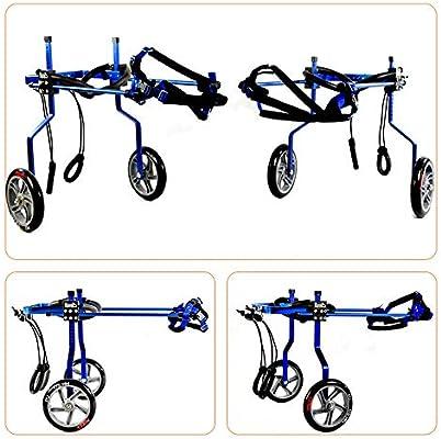 QETU Dog Wheelchair, Adjustable Dog Pet Wheelchair Hind Legs Rehabilitation, for Disability Paralyzed Pet Auxiliary Car,Blue,XL