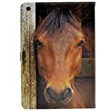 pedestal horse - iPad 2017 iPad 9.7 inch Case Unique Close-up Of Horse Face Pattern Leather Flip Stand Case Cover For Apple iPad 9.7-inch