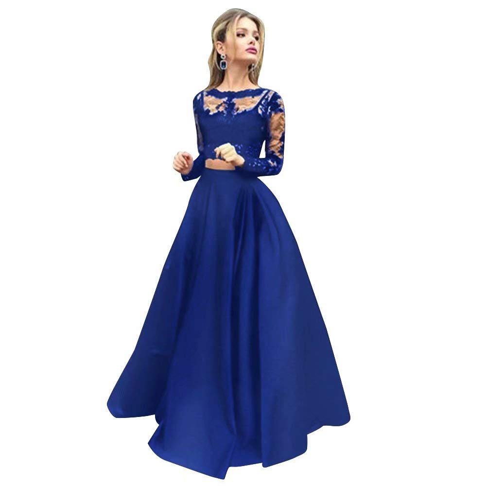color 18 Women Floral Lace Dress Long Sleeve Flare Prom Gown