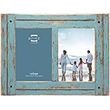 "Prinz 2 Opening Homestead Antique Wood Collage Frame, 5 x 7"", Blue"