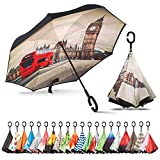 Sharpty Inverted Umbrella, Umbrella Windproof, Reverse Umbrella, Umbrellas for Women with UV Protection, Upside Down Umbrella with C-Shaped Handle (London)