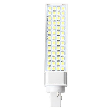 SODIAL(R) Bombilla 52 5050 SMD LED G24 8W 220V Blanco Coche Luz Lateral