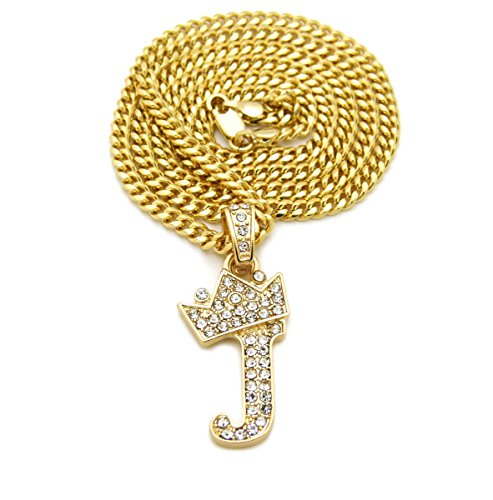 (Fashion 21 Unisex Small Size Pave Crown Tilted Initial Alphabet Letter Pendant 3mm 24