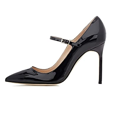 33849a4c1700 Soireelady Womens High Heel Pumps Mary Jane Court Shoes Office 10CM  Stilettos Black US5