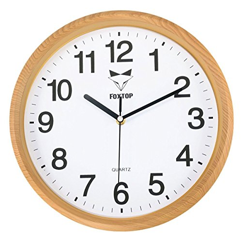 Foxtop Large Decorative Silent Wall Clocks Non-ticking Wood-Grain Frame Quartz Quiet Sweep Movement Wall Clock 12 inch