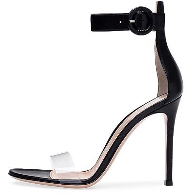 Femmes Chaussures PU Été Automne Confort Nouveauté Club Chaussures Sandales Chaussures Stiletto Talon Toe Boucle Décontracté Extérieur Dames Fine Talon Grand Code Sandales ( Color : B