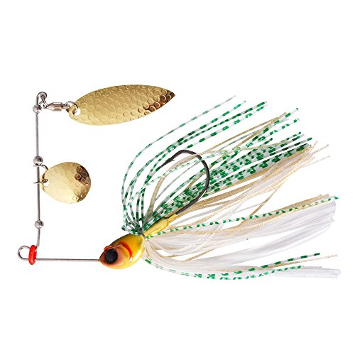Trulinoya 1/4oz Gold Cream Spinner Bait Willowleaf Blade & Colorado Blade for Lures Bass Walleye Pike Fishing Spinnerbait