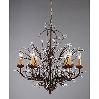 Antique bronze 6 light crystal and iron chandelier amazon antique bronze 6 light crystal and iron chandelier aloadofball Images