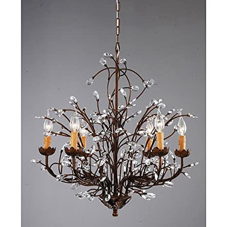 Antique Bronze 6-light Crystal and Iron Chandelier - Antique Bronze 6-light Crystal And Iron Chandelier - - Amazon.com