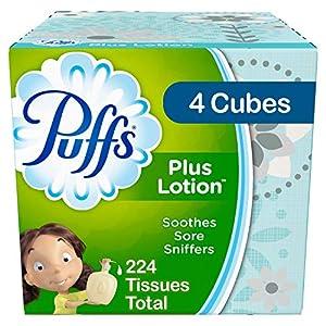 Puffs Plus Lotion Facial Tissues, 4 Cubes, 56 Tissues per Box (224 Tissues Total) – Prime Pantry
