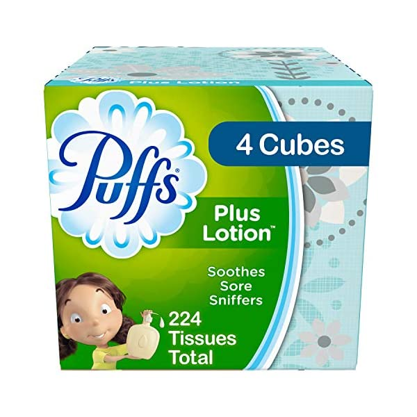 Puffs Plus Lotion Facial Tissues, 4 Cubes, 56 Tissues per Box (224 Tissues Total) – Prime Pantry