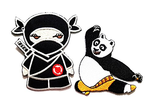 Nipitshop Patches Set 2 Pcs Panda Ninja shinobi mercenary kung fu Japanese martial arts embroidered applique iron-on patch For Clothes Backpacks T-shirt Jeans Skirt vests scarf Hat (Japanese Martial Arts Patches)