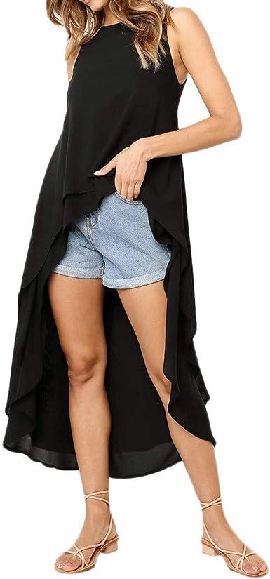 Women S High Low Dress Tops Sleeveless Double Layered Asymmetrical Flowy Hem Shirts Blouse Tunic Top At Amazon Women S Clothing Store