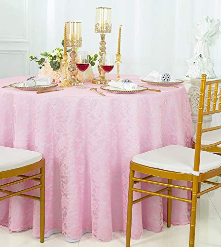 - Wedding Linens Inc. 108 inch Lace Table Overlays, Lace Tablecloths Round, Lace Table Overlay Linens, Lace Table Toppers for Wedding Decorations, Events Banquet Party Supplies (Pink)