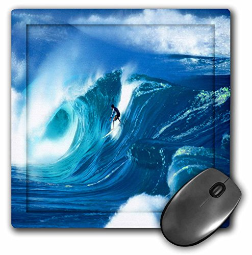 - 3dRose LLC 8 x 8 x 0.25 Inches Giant Surfing Wave and Surfer in Brilliant Blues and White Foam Highlights on The Ocean Water Mouse Pad (mp_128816_1)