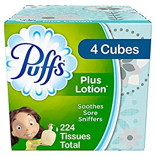 Puffs Plus Lotion Facial Tissues, 4 Cubes, 56 Tissues per Box (224 Tissues Total) - Prime Pantry