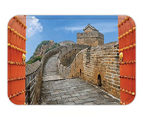 Silk Road Bamboo (Minicoso Doormat Great Wall of China Majestic Cultural Defensive Longest Architecture of Silk Road Tower Image Multi)