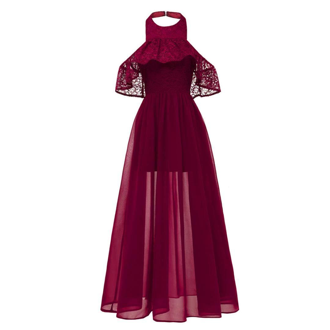 Elegante Abendkleider MEIbax Damen Cocktail Ausschnitt Spitzenkleid Prinzessin Party A-Line Swing Kleid Vintage Abendkleider Lang Kleider Sommerkleider
