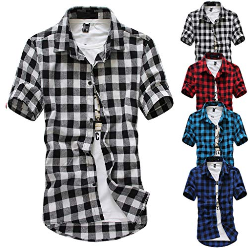 (Men's Short Sleeve Shirts Summer Lattice Plaid Printing Large Size Button Down Casual Top T Shirts Blouse (L, Black))