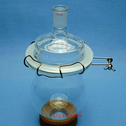 Deschem 1000ml,24/40,Glass Reaction Reactor,One Necks,1L,Reaction Vessel,W/Lid and Clamp