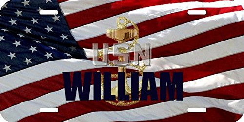 Any and All Graphics WILLIAM name on Patriotic Navy Chief CPO flag novelty license plate (Flag Patriotic License Plate)