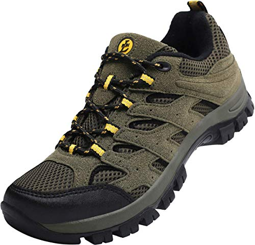 L-RUN Mens Running Shoes Waterproof Hiking Boots Outdoor Shoes Green 10 M US by L-RUN (Image #1)