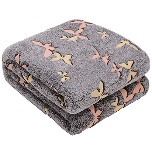 Glow in The Dark Throw Blanket,Super Soft Warm Cozy Fuzzy Plush Butterfly Pattern Blanket for Halloween Christmas Teens…