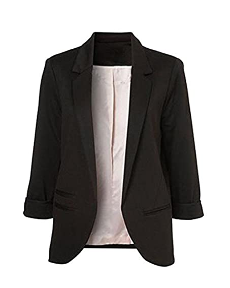 LuShmily Women's Boyfriend Blazer Tailored Suit Coat Jacket ...