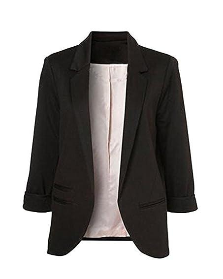 LuShmily Women's Boyfriend Blazer Tailored Suit Coat Jacket ...