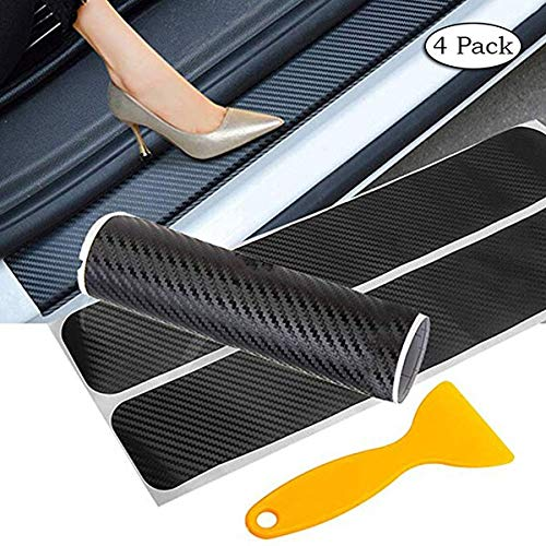 Love^Store - Car Shields Stickers - Pack Car Door Sill Protector Sticker 3D Carbon Fiber Pedals Guards Anti-Scratch Door Guard Threshold CB010 1 PCs (Scrapbook Fiber)