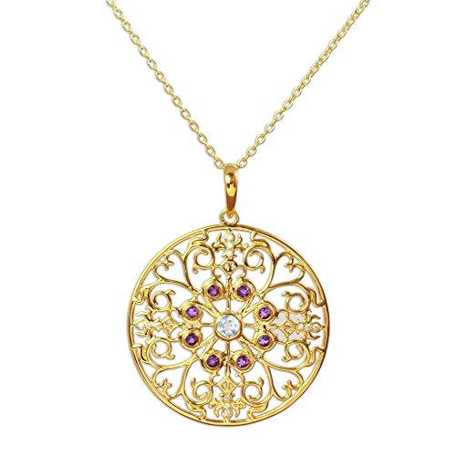 NOVICA Multi-Gem Cubic Zirconia .925 Yellow 18k Gold Plated Silver Pendant Necklace, Golden Vines'