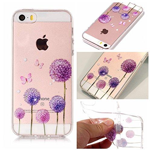 iPhone 5 5S SE Hülle , Leiai Modisch Löwenzahn TPU Transparent Clear Weich Tasche Schutzhülle Silikon Handyhülle Stoßdämpfende Schale Fall Case Shell für Apple iPhone 5 5S SE